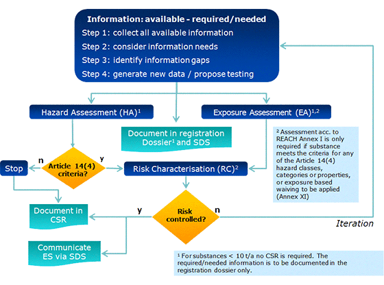Figure 2: Overall process related to information requirements and chemicals safety assessment under REACH.