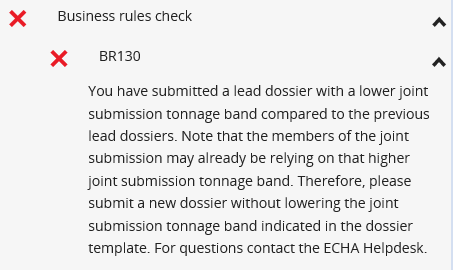 Business Rule 130 (BR130) Failure Occurs When A Lead Registrant Submits A  Dossier Update In Which The Joint Submission Tonnage Band Indicated Is  Lower Than ...